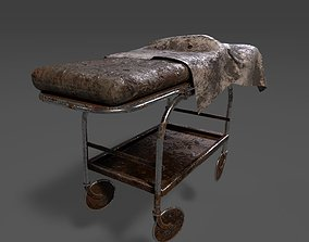 Very Old Stretcher-Wheeled Hospital Bed 3D