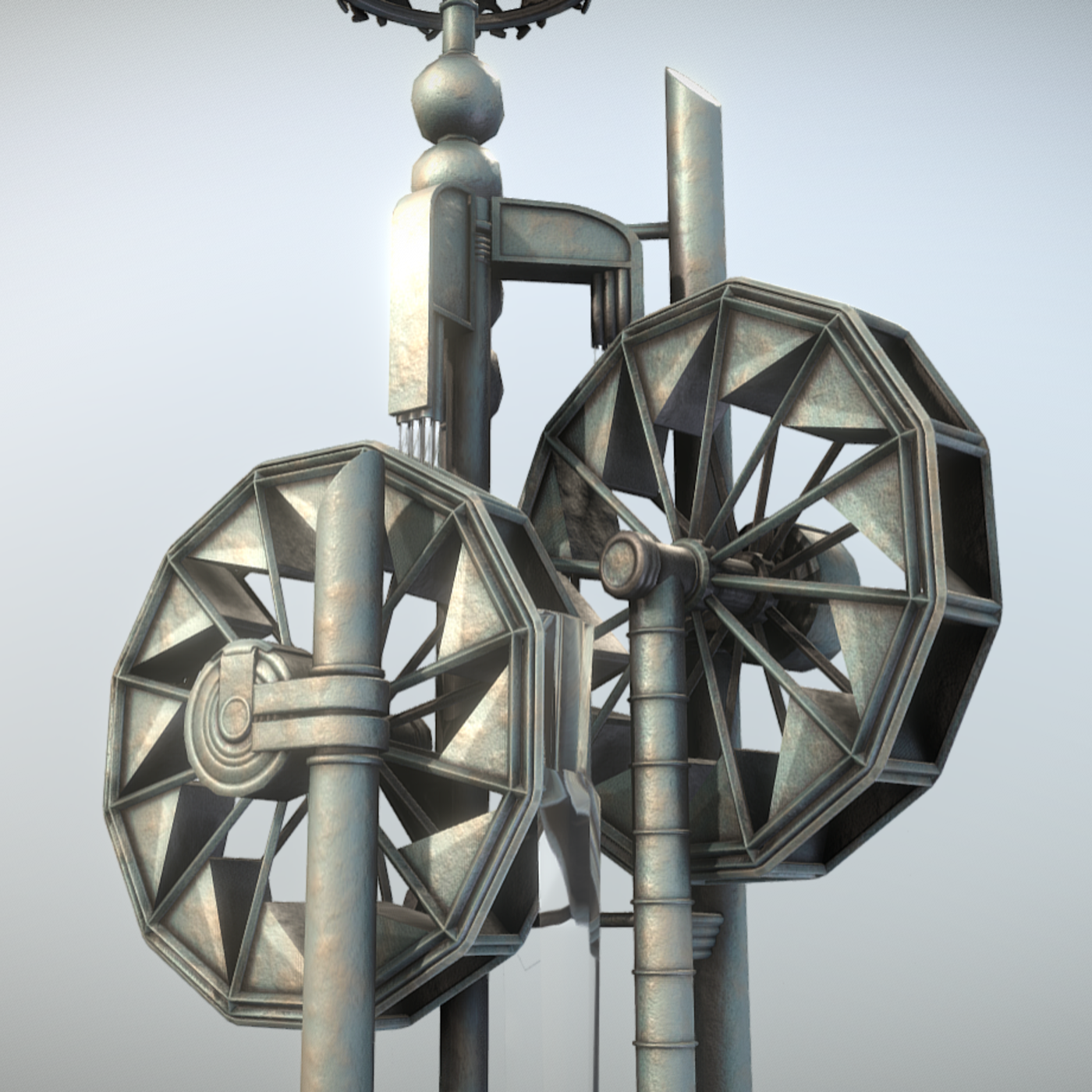 Water Wheels Fountain (Low-Poly Version)