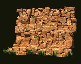 Rubble walls stone walls ruins ancient scenes 3D