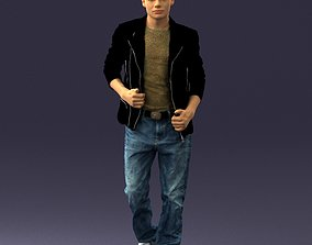 Stylish guy in jeans and black jacket 0170 3D Print Ready