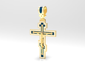3D print model Russian Cross with JESUS - enamel and