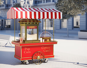Mobile trolley for making popcorn 3D model