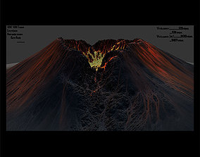 volcano 3D model low-poly stone