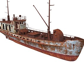 Old Abandoned Rusted Ship2 3D model