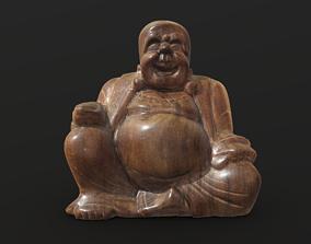 Smiling wooden buddha figure 3D model