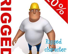 Worker Cartoon Rigged helmet 3D model
