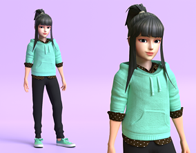 rigged Cartoon Teenage Girl 3D model Rigged