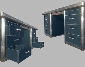 Old Office Steel Tables 3D asset