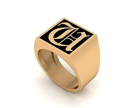 Old English Letter Ring U 3D print model