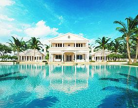 Resort hotel swimming pool model