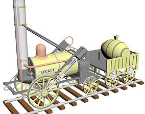 Stephensons Rocket locomotive 1829 3D model