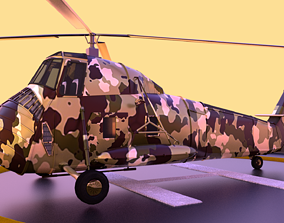 animated Military helicopter 3D model
