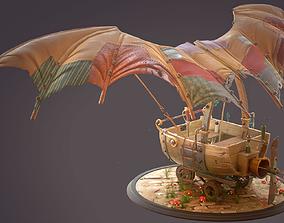 3D model Cartoon sci-fi hand-drawn style flying car