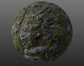 Mossy Cliff Rock 001 PBR Material Texture 3D model
