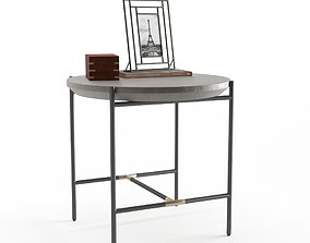 3D West Elm Finian Concrete and Iron End Table