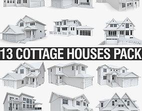 3D asset Modern Cottage Houses-13 Pack