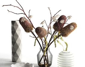 3D polygonal Bowl Vases with Flowers