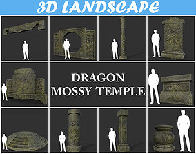 3D model Low poly Mossy Ancient Dragon Temple Pack 01