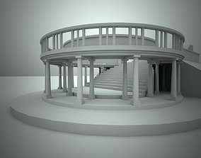 3D asset Staircase with a colonnade