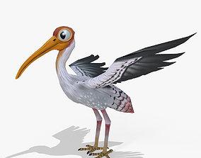 3D asset Stork Cartoon Lowpoly