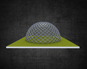 Dome hexagonal grid circular pattern large scale 3D asset