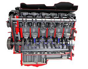 Animated Cutaway V12 Engine 3D model