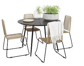Prato Outdoor table with four Joy chairs 3D model