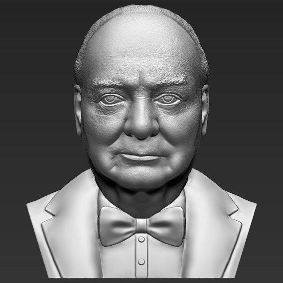 Winston Churchill bust for 3D printing
