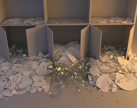 Falling cupboard vessels - Collapse Animation 3D