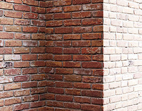 Old red brick wall 3D
