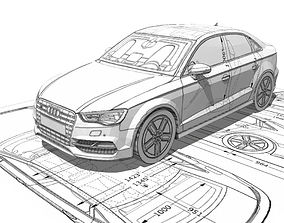 low-poly Audi A3 Limousine 3d blueprint