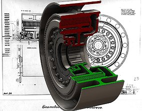 3D model Soviet T-34 tank steering clutch