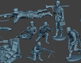 3D model German soldiers ww2 MG42 G7 Pack1
