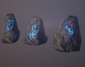 Runic stones 3D asset
