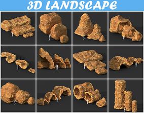 3D model Low poly Cave Modular Yellow Rock Casual