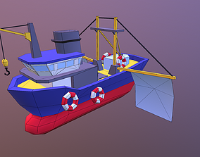 Low poly ship 3D asset realtime