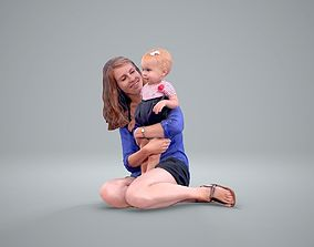 Sitting Woman Holding Baby Girl 3D model