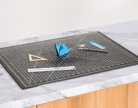 3D model Drawing board with instruments various-models