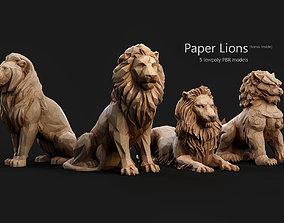 Paper Lions - 5 lowpoly PBR models 3D asset