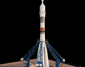 3D Russian rocket Soyuz with animation for animated 1