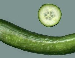 3D asset Cuted cucumber