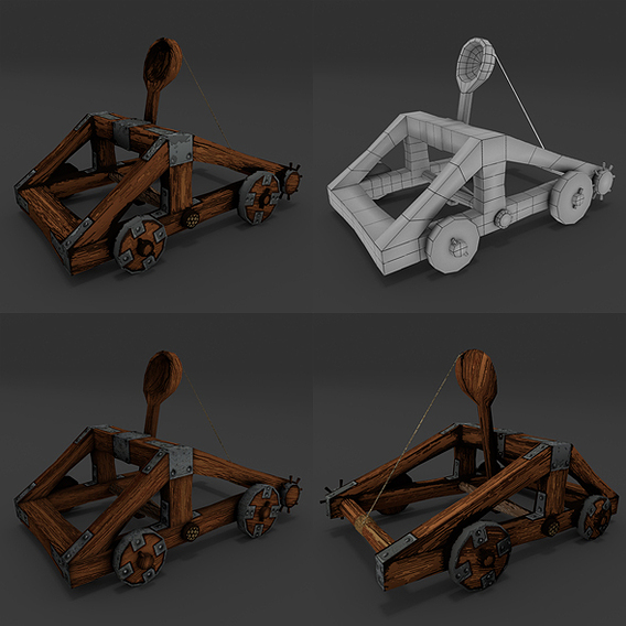 Catapult rigged LowPoly