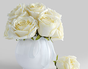 Bouquet of white roses 3D model