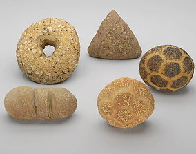low-poly Pack of 3D scanned bakery goods