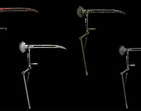 3D asset Scythe steampunk low poly 4 texture options and 1