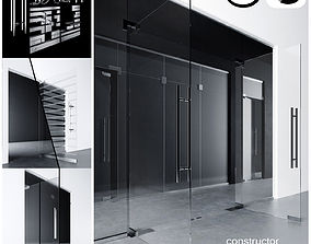 Glass doors partitions with sandblasted images 3D model