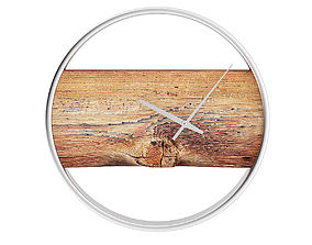 Wall Clock with Rough Wood 3D model