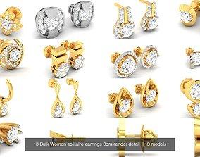 13 Bulk Women solitaire earrings 3dm render detail