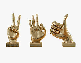 Metallic Hand 3 Piece Figurine Set 3D print model