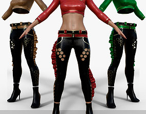 3D model Women Fashion Gothic Punk Leather Pants